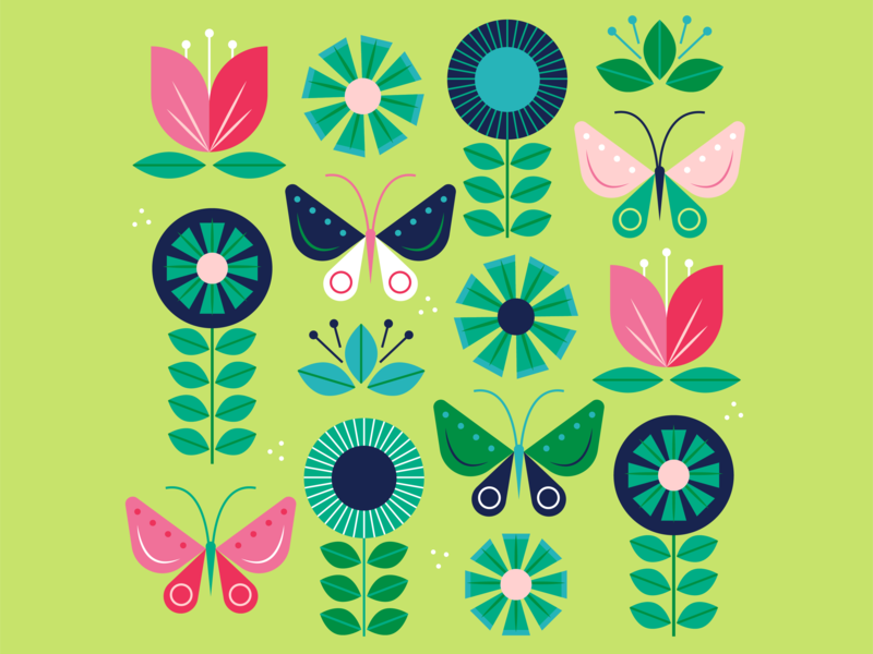 Bring on Spring retro bouquet illustration flower vector simple colorful flowers plants butterfly spring