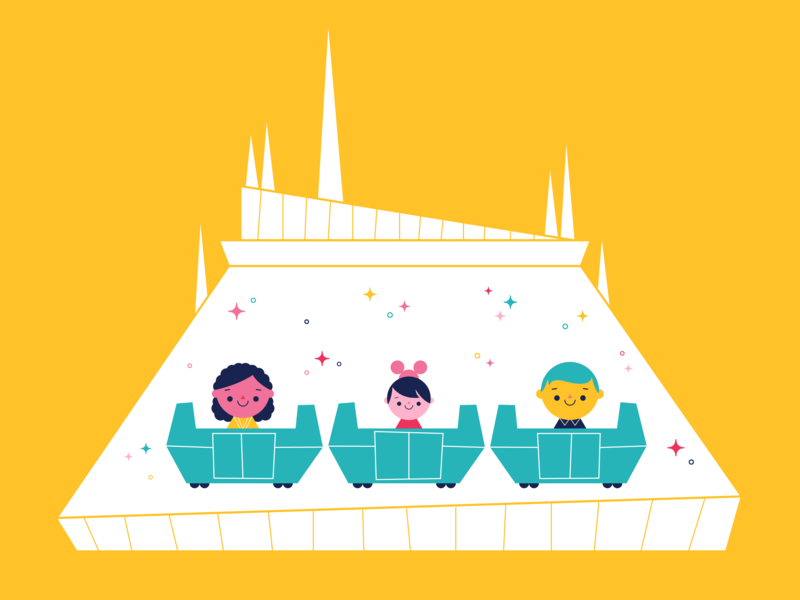 People Mover vector retro fun colorful character illustration ride space mountain peoplemover disney world disney