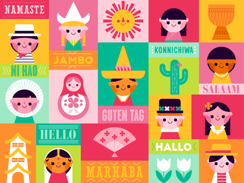 Hello World colorful happy countries travel hello cute italy hawaii holland brazil india japan mexico illustration vector children its a small world mary blair disney