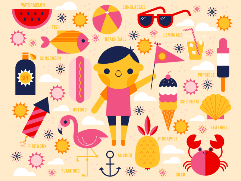Summer sea sun children kid beach flamingo ice cream hot summer season colorful character fun cute illustration