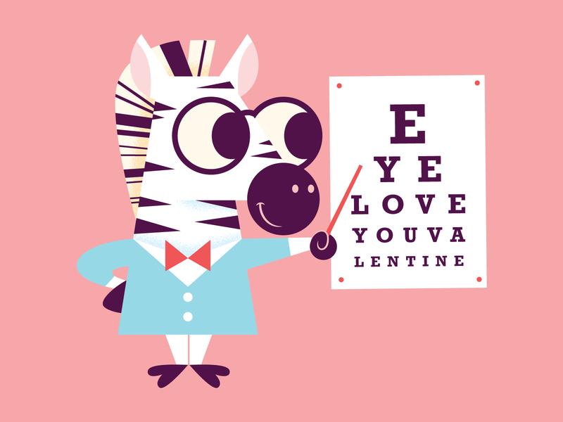 EYE ❤️ YOU zebra educational valentine childrens illustration cute animal character fun cute illustration