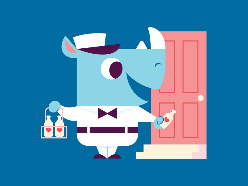 Special Delivery childrens illustration milk rhino valentine animal character fun cute illustration