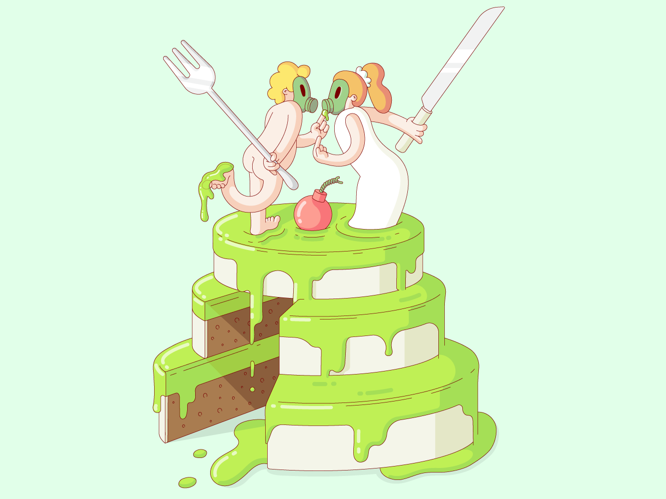 It's Lime slime bomb fork knife wedding cake wedding gas mask love funny drawing vector illustration design