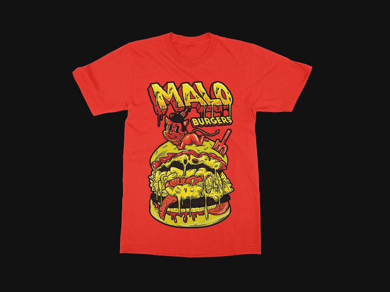 Malo Burgers Merch illustration design tee typogaphy lettering font draw drawing burger logo burger merch typography texture design illustration tshirt design tees tshirt apparel merch design