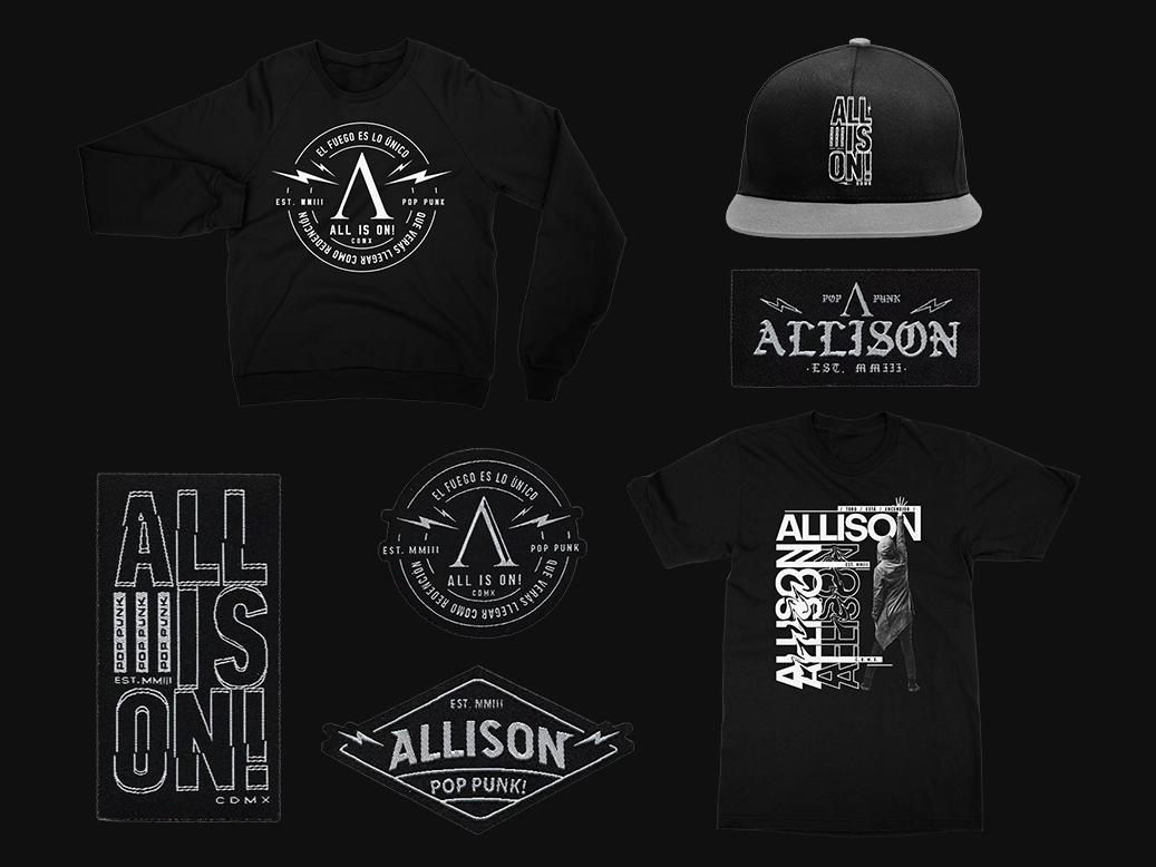 Allison Merch tee design tee shirt tee snap cap patches patch font punk music pop punk punk music typography tshirt design tees design tshirt merch design merch clothing apparel
