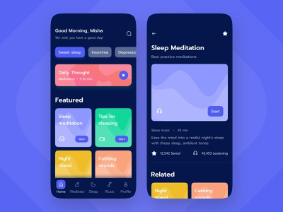 Meditation Mobile App icons app meditation mobile ui ux typography minimal design