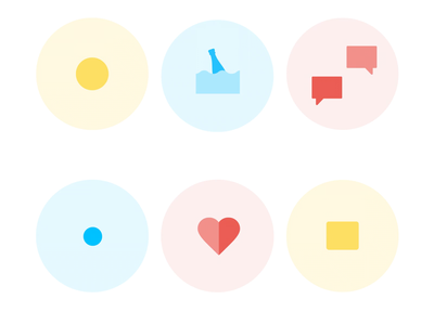 Icons animation lottie animation wave bottle play chat heart circles badge icons animation icons