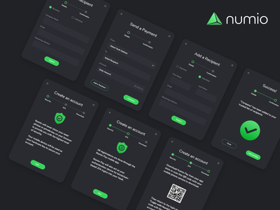 Numio sign up accounts create an account payment add a recipient popup design dashboard popups numio