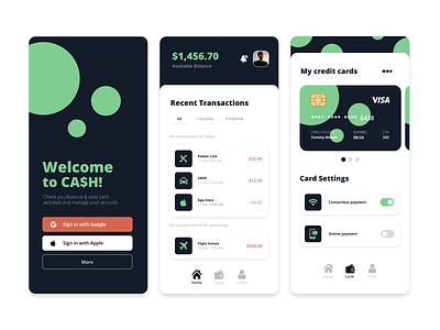 Financial App   CA$H flat minimal ui app design graphicdesigner graphicdesign dribbble designinspiration design branding
