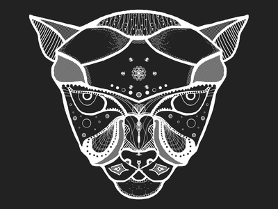 Wild cat cat black and white black  white symmetrical symmetry abstract art abstact wild animal wild cat cat art print art print illustration