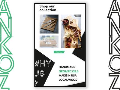 Cutting boards web ecommerce minimal website shop concept branding kitchen cutting board green black  white ux design ux ui front end design design