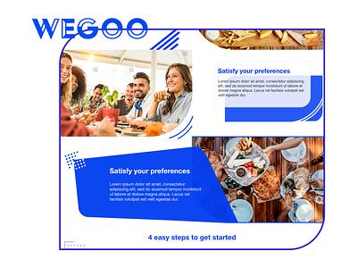 Wegoo blue and white blue layout friend friends meeting app meetings meetup landing page design landing page landing app web logo ux design ui front end design branding design