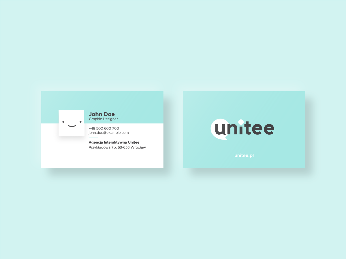 Interactive agency business card white logo design branding brand bubbble simple smile blue stationary visual identity visual agency card business interactive agency