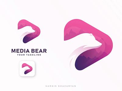 MEDIA BEAR Logo Design illustrator illustration clean logo vector design