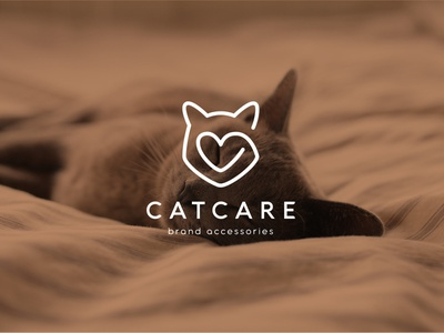 Cat Care logo illustration branding identity flat minimal illustrator vector clean design