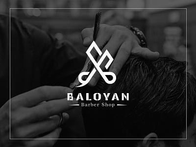 Scissors + Letter B type typography branding icon minimal illustrator vector clean logo design