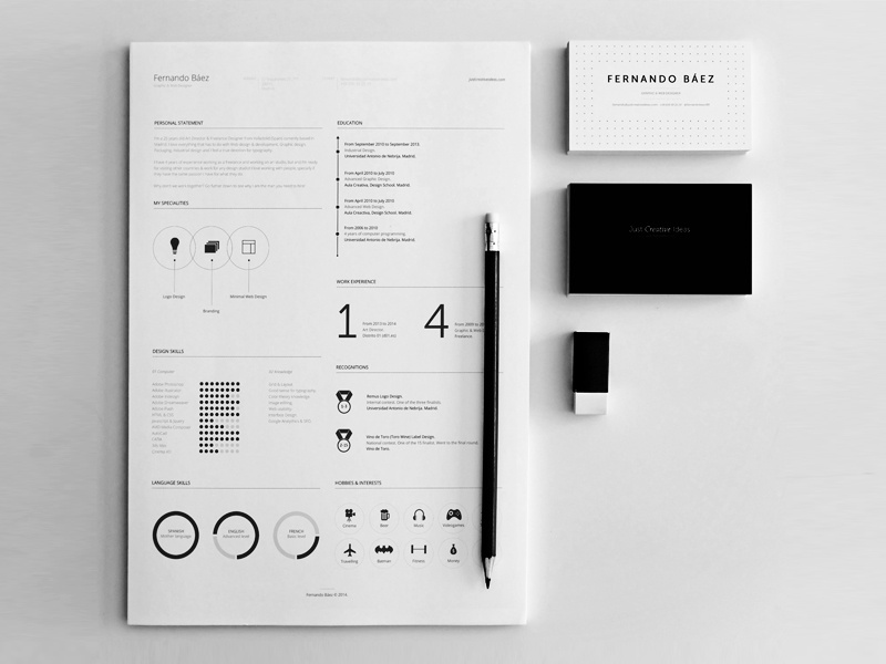 free resume template by fernando b u00e1ez on dribbble