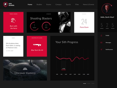 Star Wars: Force University university campus color icons data infographic app template dashboard ux ui star wars