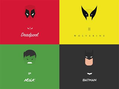 Herofy: App illustrations branding typography type color hero dc marvel illustration batman hulk wolverine deadpool