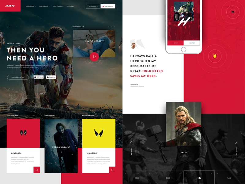 Herofy: Web Design web app hero color interaction interface responsive user interface ui user experience ux web design