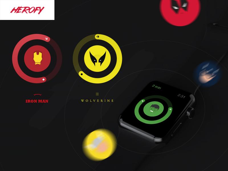 Herofy: Apple Watch interaction illustration user experience ux user interface ui apple watch smartwatch watch branding color app