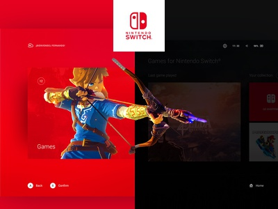 Nintendo Switch Interface link zelda color user experience user interface videogame dashboard interface ux ui switch nintendo