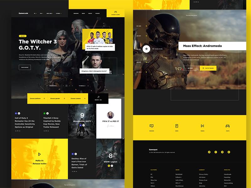 Videogame Website landing game home web design ui interface responsive yellow color news videogame