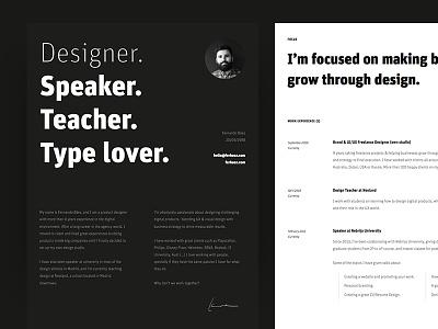 New Resume (CV) Design bold typography white black editorial print resume cv