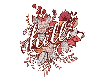 Hello, Floral Print illustrator floral typography art print hello dribbble hello kitty warm colors floral illustration calligraphy and lettering artist calligraphy flowers illustration flowers floral art vector art botanical art botanicals illustration floral design handlettering