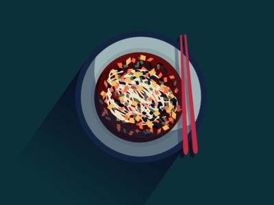 sour spicy minced pork noodle soup