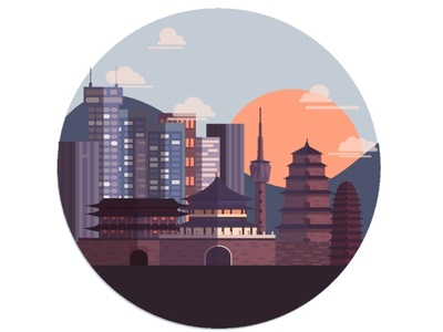 Xi'An cityscape character design illustrator vector illustration digital