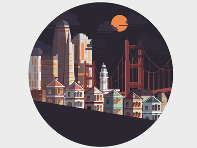 SF san francisco cityscape design illustrator vector illustration digital