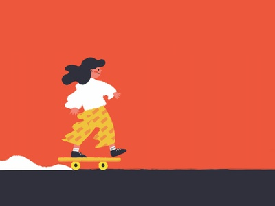 on the road again corel painter red organge yellow girl skateboard character design illustrator vector illustration digital