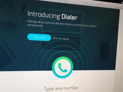 Dialer app landing page concept ladning web site app icon process wip sketchapp
