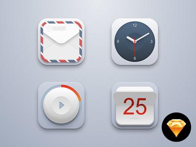 Rebound in Sketchapp – Sketch file included sketchapp sketch icons rebound mail clock calendar play button app