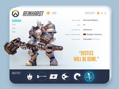 Reinhardt Info Card info abilities gaming game interface flat card ux ui blizzard reinhardt overwatch