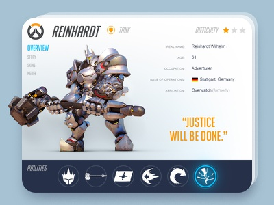 Reinhardt Info Card info abilities gaming game interface flat card ux ui blizzard reinhardt overwatch
