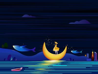 Moonlit night vector design illustration