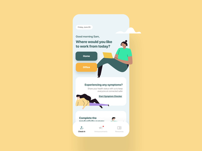 Covid Symptom Checker mobile ui covid19 illustration connected design app