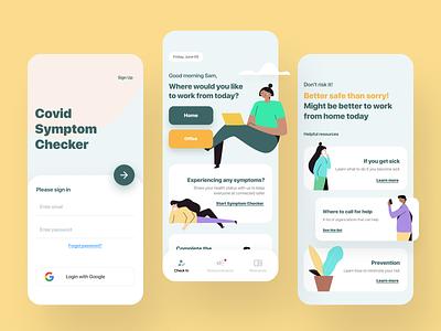 Covid Symptom Checker mobile ui covid19 illustration connected design app