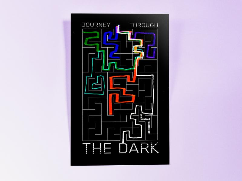 Poster OneHundredTwentyEight: journey through the dark hand drawn poster challenge poster design