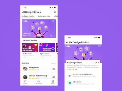 Online Courses typography branding app design ux ui