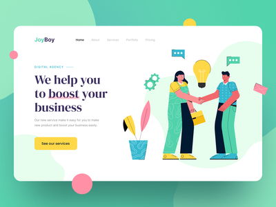 JoyBoy Digital Agency Header Illustration hero illustration hero image drawing vector design ui illustration