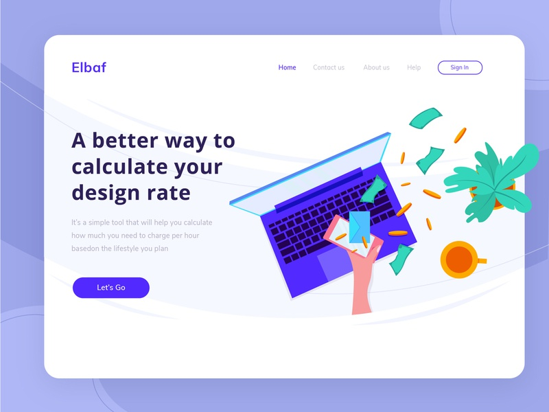 FREEBIE - Landing page design for financial theme freebie-friday freebie ai freebies freebie calculator finance financial finance homepage hero image illustration header