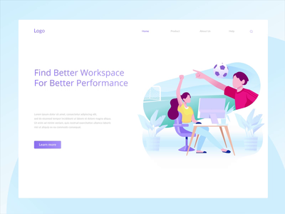 Animated hero image for co-working space workspace after effects aftereffects gif motion graphic animation illustration hero image header