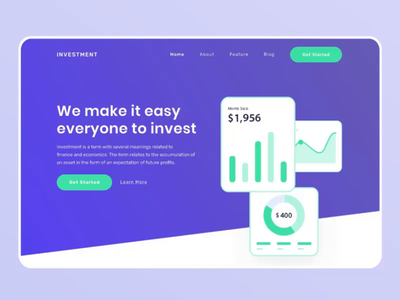 Animated Landing Page - Investment Startup Company investment ui ux homepage animated animated hero motion graphic landing page animation illustration header hero image