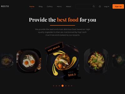 Restaurant animated homepage food restaurant homepage ui ux gif animated hero motion graphic landing page animation hero image