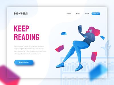 Bookworm - header illustration hero image header landing page book app illustration reading library book