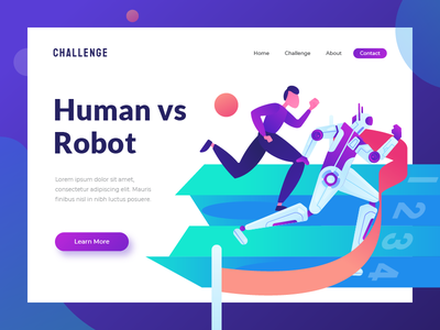 Human vs Robot - header illustration hero image homepage ui ux landing page header illustration machine learning automatic robot ai artificial intelligence human vs robot