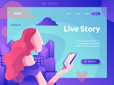 Live Story - A Header Animation animated hero hero image landing page header after effect gif animated motion graphic animation